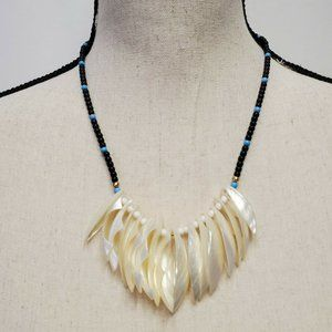 Vintage Tribal Inspired Necklace Blue Ivory Beaded